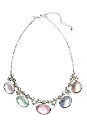 Oval Stone Diamanté Necklace