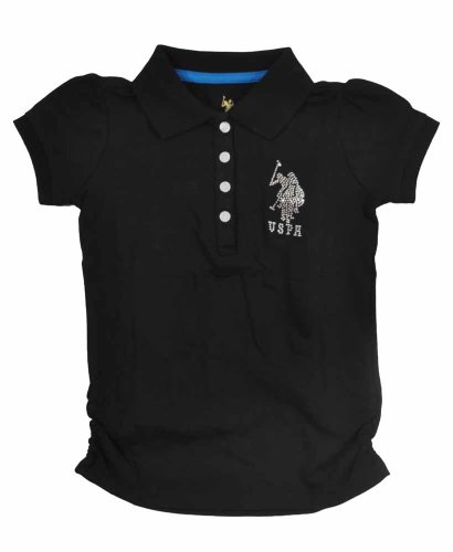 U.S. Polo Assn. Little Girls' Side Ruched Polo With Large Rhinestone Pony Logo, Black, 4