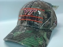 NCAA Officially Licensed Virginia Tech Hokies Realtree Camo Bar Design front and back Embroidered STRETCH FIT Hat by The Game