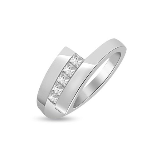 0.60 carat Diamond Half Eternity Ring for Women. H/SI1 Princess Cut Diamonds in Channel Setting in 18ct White Gold