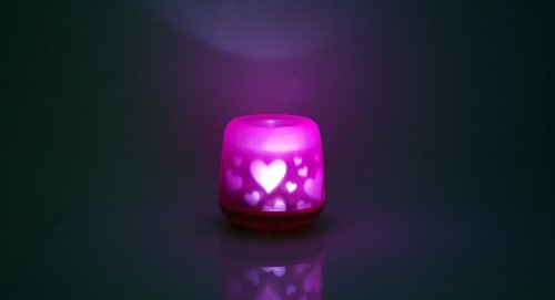 Candle Sound Activated Projection Night Lamp (Heart Pattern)-Heart Pattern - (Premium Quality)