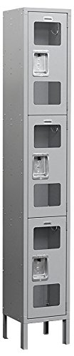 Salsbury Industries Assembled 3-Tier See-Through Metal Locker with One Wide Storage Unit, 6-Feet High by 15-Inch Deep, Gray