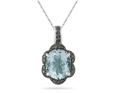 Aquamarine and Black Diamond Royal Pendant in Sliver