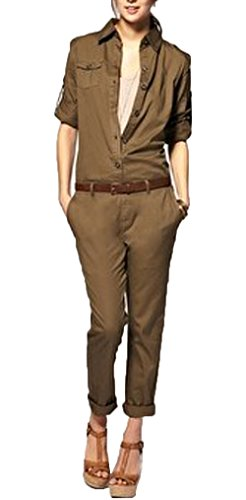 Oure Women Solid Cotton Long Sleeve Tooling Cool Overall Pants Jumpsuits (M, Army green)
