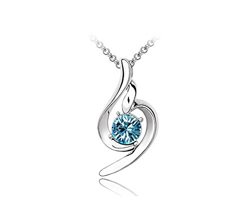 KATGI Fashion White Gold Plated Lucky Angel Beautiful Crystal Pendant Necklace