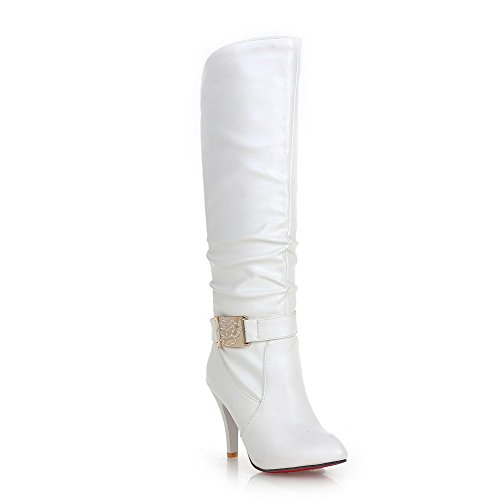 Voguezone009 Womens Closed Pointed Toe High Heel Soft Material Pu Solid Boots With Red Bottom, White, 38