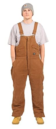 Mens - Insulated Bib Overalls Winter Warm - Polar King - Brown by Key Apparel