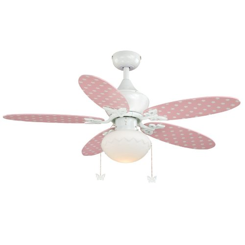 Alice - 5 Blade 44 Inch Childrens - Girls Ceiling Fan with Light Kit - White Pink - White Opal Glass - B8208Alice - 5 Blade 44 Inch Childrens - Girls Ceiling Fan with Light Kit - White Pink - White Opal Glass - B8208
