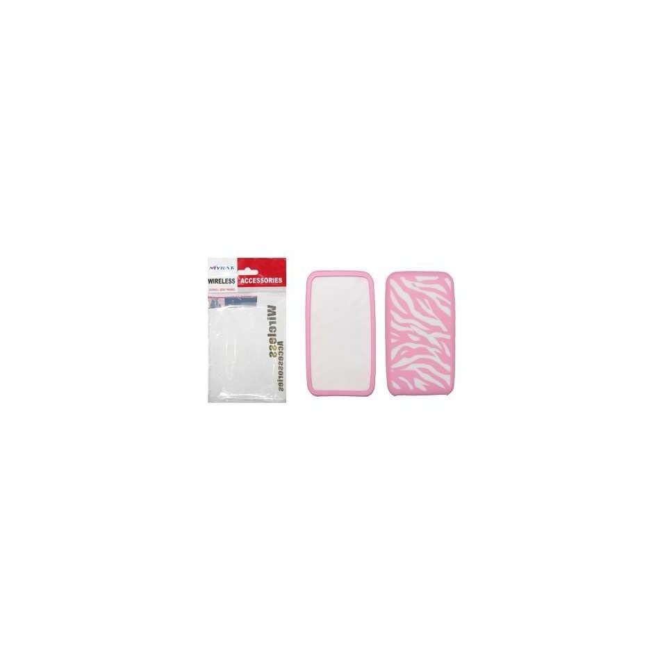 Pink and White Zebra Design Gel Skin Cover Case for Apple Ipod Touch 2nd Generation [Mybat Brand]