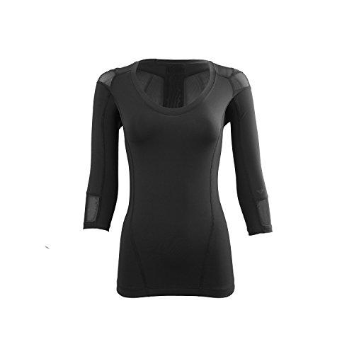 IntelliSkin Women's Foundation 3/4 Sleeve Tee (Large, Black) (Intelliskin Llc compare prices)