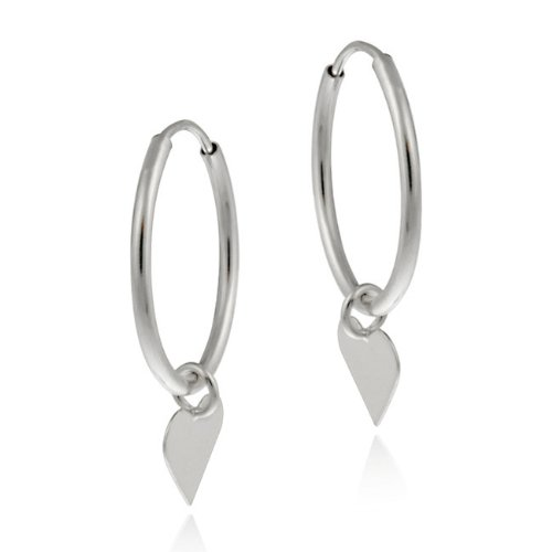 10K White Gold Dangling Heart Endless Mini Hoop Earrings