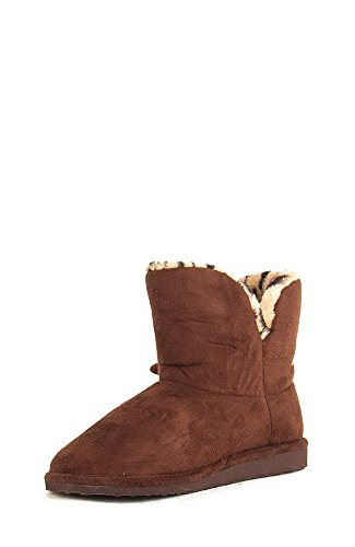 Soda Lovely-S Suede Round Toe Fur Lined Boot With Bow