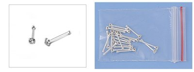 Sterling Silver Cubic Zirconia Nose Stud with Ball- Clear Cubic Zirconia - 1.5mm
