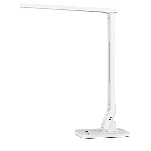 TaoTronics Dimmable LED Desk Lamp (Piano White, 4 Lighting Modes: Reading/Studying/Relaxation/Bedtime, 5-Level Dimmer, Touch-Sensitive Control Panel, 1-Hour Auto Timer, 5V/1A USB Charging Port) (Tao Led Lighting compare prices)