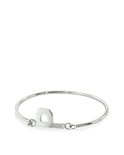 Bronzo Lusso Rhodium-Plated Initial P Bangle Bracelet As You See