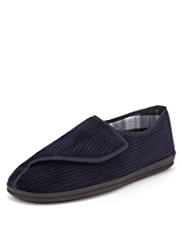 Freshfeet™ Riptape Striped Corduroy Slippers with Silver Technology