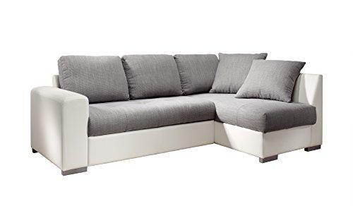 Cotta M442660 C311/D200 Polsterecke mit Schlaffunktion und Bettkasten, Recamiere rechts, Kunstleder weiß mit Strukturstoff grau, 240 x 155 cm