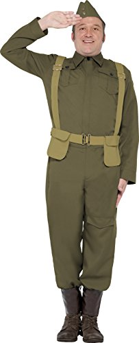 Smiffy's Men's Ww2 Home Guard Private Costume Trousers Ankle Covers Jacket Hat and Harness Belt, Green, Medium