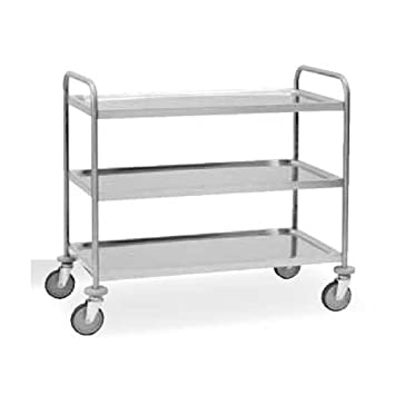 STAINLESS STEEL AISI 304 3 TIER CLEARING TROLLEY SERVING TRAY - CAN BE DISASSEMBLED - 1090 x 590 x 950 mm.
