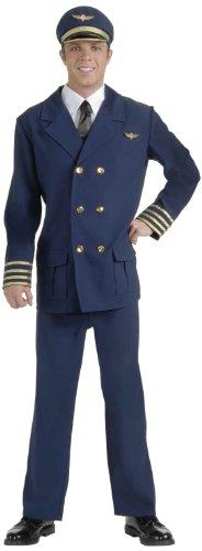 Forum Novelties Men's Airline Pilot Costume, Blue/Gold, Standard