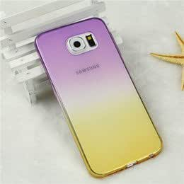 FONOVO Gradient Soft Silicone Transparent Back Cover Case for Samsung Galaxy S7 (PURPLE YELLOW)