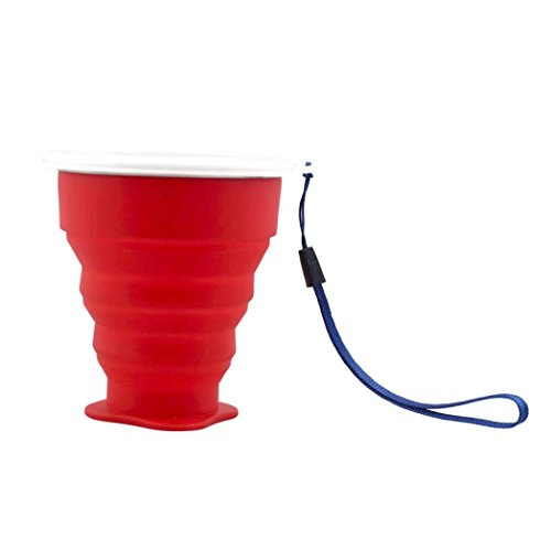 Laimeng, Outdoor Portable Collapsible Creative Metal ring Transparent Cover Cup (Red)