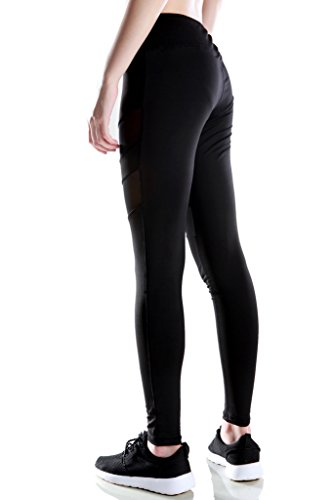2-FITNESS Women's Yoga Leggings with Mesh Panels, Ladies Fashion Workout Pants Black L