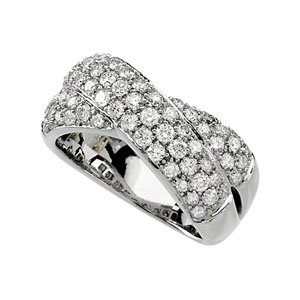 14k White Gold Rough Diamond Ring 1 1/2ct - Size 6 - JewelryWeb