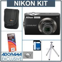 Nikon Coolpix S4000 Digital Camera Kit, - Black - with 8GB SD Memory Card, Camera Case, Table Top Tripod, Spare Rechargeable Li-ion Battery EN-EL10, 2 Year Extended Service Coverage