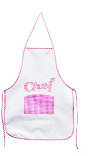"""Cooking Fun Kids """"Chef"""" Apron ~ 21"""" Apron with Center Pocket (Pink)"""