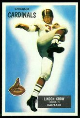 1955 Bowman Regular (Football) Card# 5 Lindon Crow of the Chicago Cardinals VGX Condition
