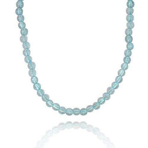 6mm Round Blue Topaz Bead Necklace, 30+2