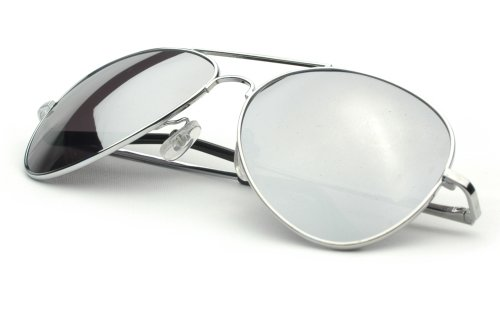 Aviator Sunglasses Silver Frame Mirror Lens