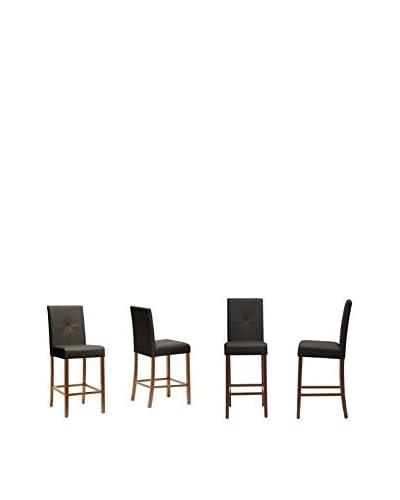 Baxton Studio Set of 4 Curtis Modern Counter Stools, Dark Brown