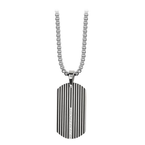 Men's Dog Tag with Black IP Plated Lines and Small CZ Row In The Middle, Part Of The Banded CZ Collection. (Pendant Only)