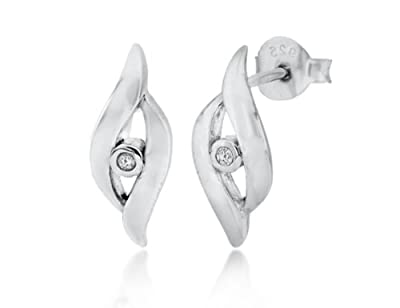Tuscany Silver Rhodium Plated 0.005ct Diamond Set Crossover Stud Earrings