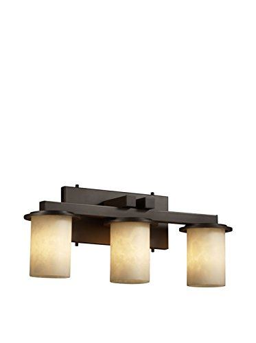 Justice Design Group CandleAria Dakota 3-Light Vanity Light, Dark Bronze/Cream