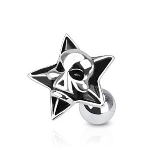 "Body Accentz® 316L Surgical Steel Devil Skull Inside Star Tragus/Cartilage Piercing Stud 16G 1/4"" Targus Iron Man"