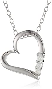 Sterling Silver 3-Stone Diamond Heart Pendant Necklace (0.10 cttw, I-J Color, I2-I3 Clarity), 18