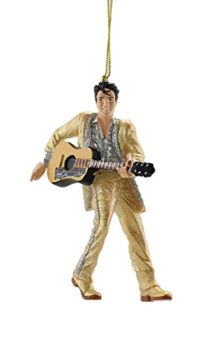 ELVIS® in Gold Suit with Guitar Kurt Adler 4.5-inch Resin Christmas Ornament in Protective White Gift Box