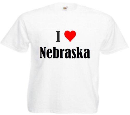"""Kinder T-Shirt """"I Love Nebraska""""Größe""""164""""Farbe""""Weiss""""Druck""""Schwarz"""