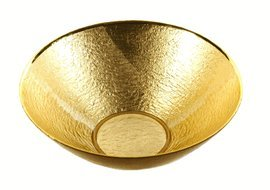 "Badash - Hand Decorated Glamour Gold Leaf 12"" Glass Bowl"