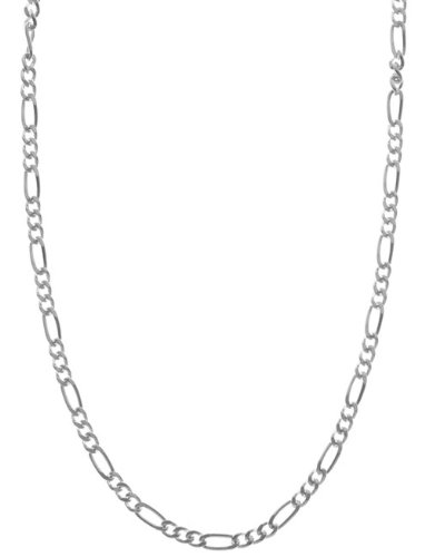 Italian Sterling Silver 2mm Figaro Chain 16 Inch Necklace