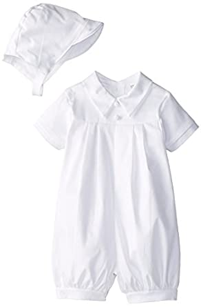 1a1727258 Lauren Madison Baby boy Christening Baptism Infant Polished cotton Short  Romper · view recommendations for this product. It is simple in style, ...