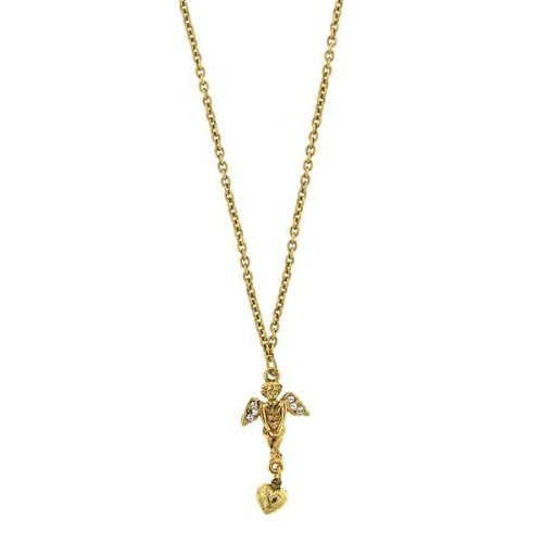 1928 Golden Angel Heart Drop Pendant Necklace