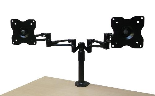 Mountright Twin Arm Double Desk Mount 14, 15, 17, 19, 20, 21, 22, 23 Inch LCD/LED/Monitor