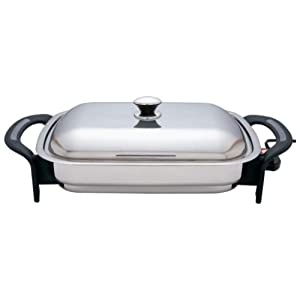 Precise Heat Rectangular Surgical Stainless Steel Electric Skillet
