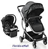 Urbini Omni 3-in-1 Travel System, Convertible Pram Stroller, Infant Carrier Car Seat with Base (Black)