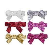 Glitter Baby and Toddler Hair Bows. 6-Pack of Velvet No Slip Hair Clips. Stocking Stuffer Bow Pack.