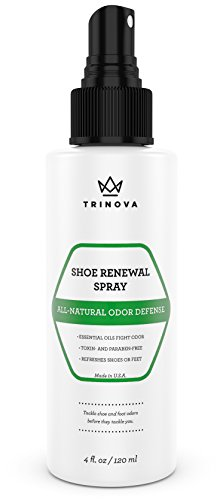 Natural Shoe Deodorizer - Safe Spray for Feet and Smelly Cleats, Socks & More. Eliminate odor from sweat with pure tea tree, mint and thyme oil. 4oz - TriNova